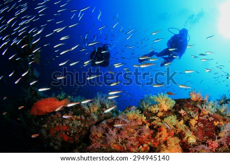 Scuba Diving on Coral Reef Underwater in Ocean - stock photo