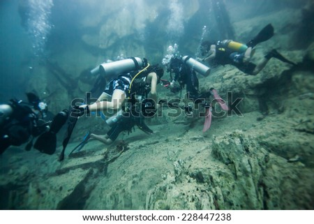 Scuba diving under the hot spring, hot water make vision blurry in Coron area, Palawan, Philippines. - stock photo