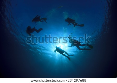 Scuba diving underwater silhouettes