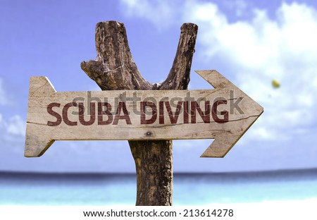 Scuba Diving wooden sign with a beach on background  - stock photo