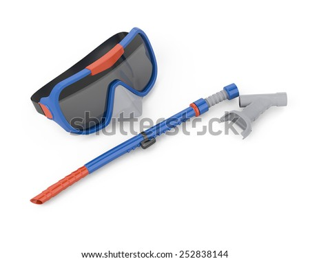 Scuba mask and tube for swimming isolated on white background. 3d render image. - stock photo