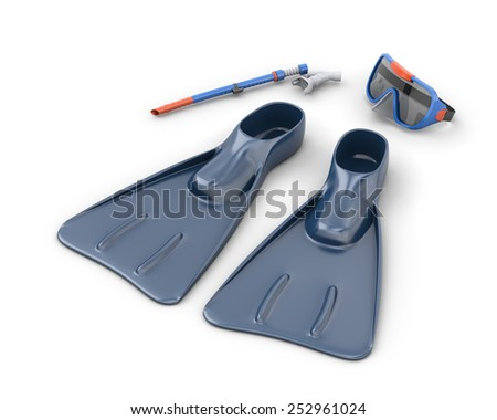 Scuba snorkeling blue diving set isolated on white background. 3d render image - stock photo