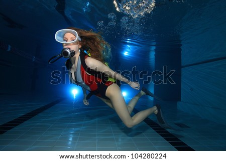 Scuba woman - stock photo