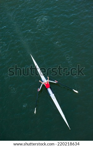 Sculler in Competition - stock photo