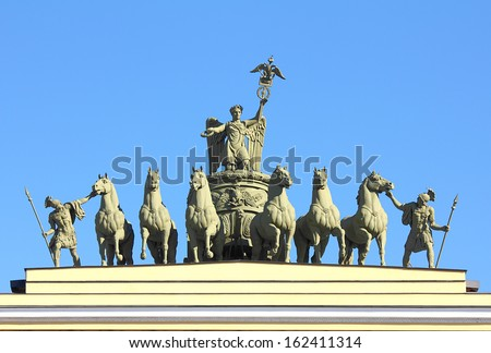 sculptural group on Arch of General Staff on palace square in St. Petersburg Russia - stock photo