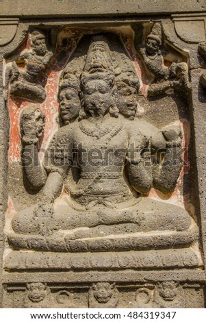 Sculptural panel on the main temple (exterior) - Brahma in Kailas temple (Ancient Hindu Temple ) carved out of solid rock, Cave number 16, near Aurangabad, Maharashtra, India.