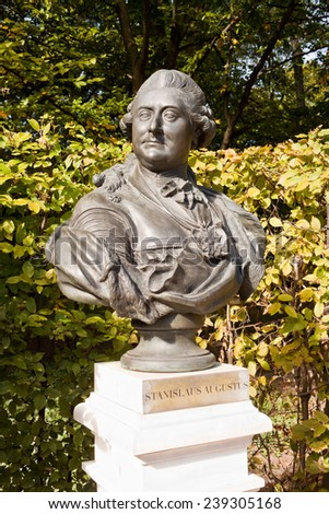 Sculptural portrait of polish king Stanislaw August Poniatowski in Lazienki park (Royal Baths Park) - stock photo