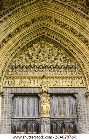 Sculpture above North Entrance of Westminster Abbey (Collegiate Church of St Peter at Westminster) in City of Westminster, London. Westminster is traditional place of coronation for English monarchs.