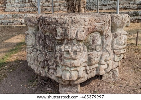Sculpture at the archaeological site Copan, Honduras