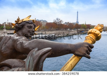 Sculpture in Alexandre III Bridge in Paris, France.