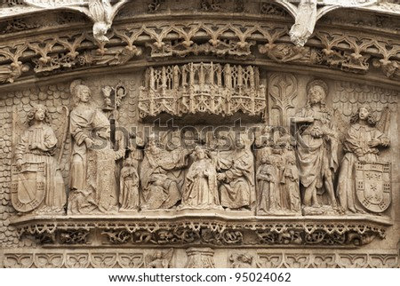 Sculpture in stone  of Saint Paul church. (Built 1445-1616) Valladolid, Spain.