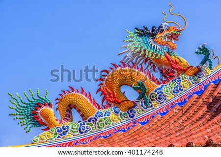 Sculpture in the Chinese temple at Pattaya Thailand. Chinese dragon.