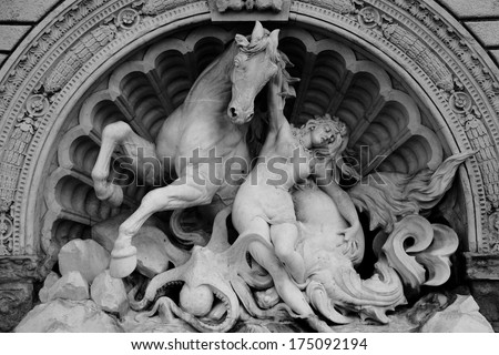 Sculpture in the city park, Bologna, Italy - stock photo