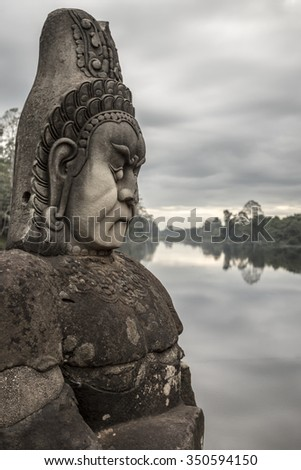 Sculpture in the morning light in Angkor Wat, Cambodia