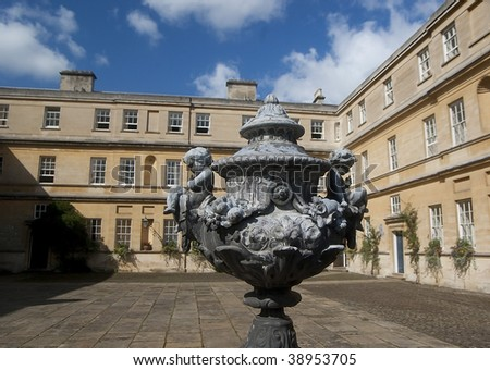 Sculpture in the yard of Trinity College, Oxford, UK - stock photo