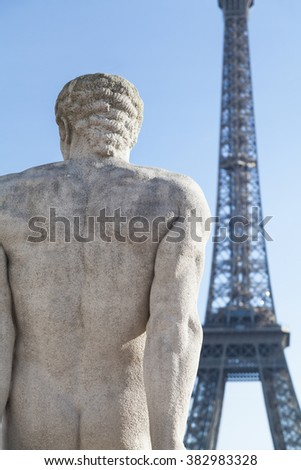 Sculpture in Trocadero in Paris, France.