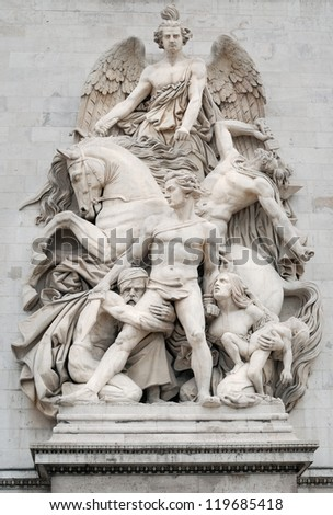 Sculpture La Resistance (Resistance) on facade of the Arc de Triomphe (Triumphal Arch), one of the most famous monuments in Paris, France. - stock photo