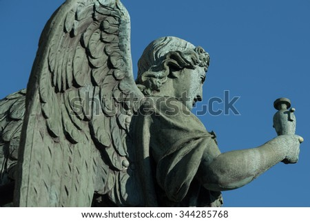 Sculpture of an angel close-up on the balustrade of St. Isaac's Cathedral - stock photo