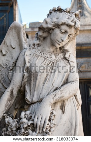 Sculpture of an angel in the historic cemetery Recoleta, Buenos Aires Argentine
