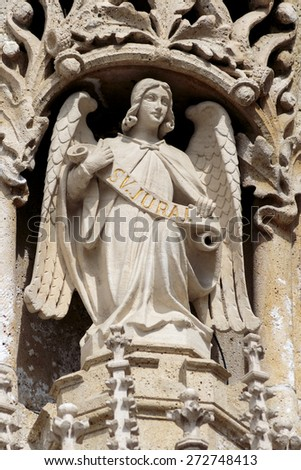 Sculpture of an angel on Zagreb cathedral