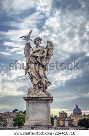 Sculpture of angel with Veronica's Veil, Saint Angelo bridge, Rome  - stock photo