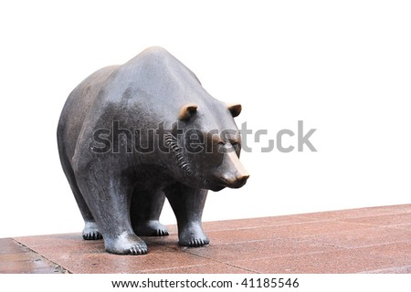 Sculpture of bear at the stock exchange in Frankfurt, Germany - stock photo