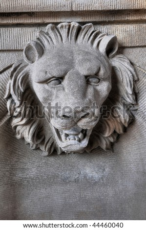 Sculpture of head of lion