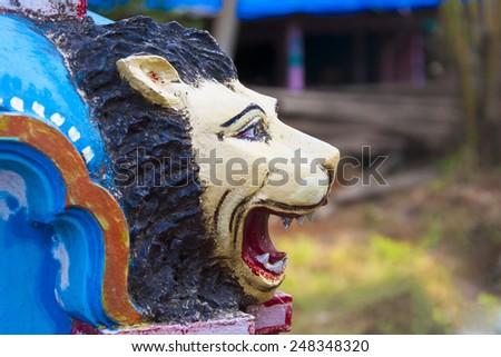 Sculpture of Hindu go(Lion). - stock photo