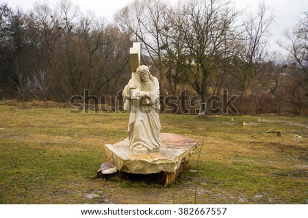 Sculpture of Jesus Christ carrying the cross in the monastery Condrita Moldova