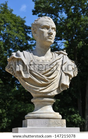 Sculpture of Julius Caesar in Royal Baths Park, Warsaw, Poland. - stock photo