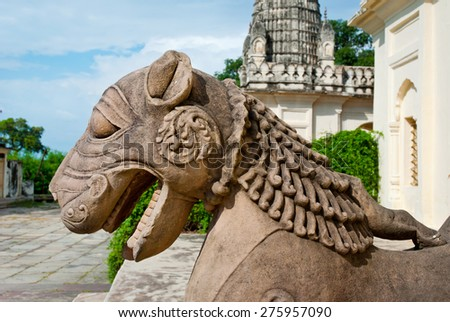 Sculpture of  lion in group the famous temples of Khajuraho. This is a large group of medieval hindu and jain temples, famous for their erotic sculptures. Khajuraho, Madhya Pradesh, India. - stock photo