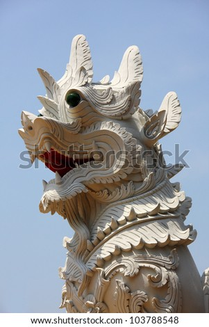 Sculpture of lion in temple, guard in Thai's religion, Thailand