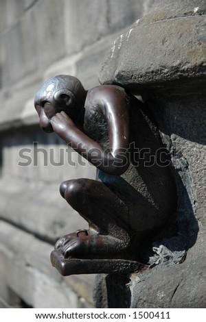 Sculpture of monkey in Mons, Belgium - stock photo