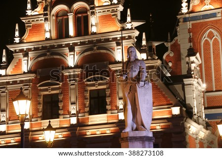 Sculpture of Roland in front of House of Blackheads. Riga, Latvia - stock photo