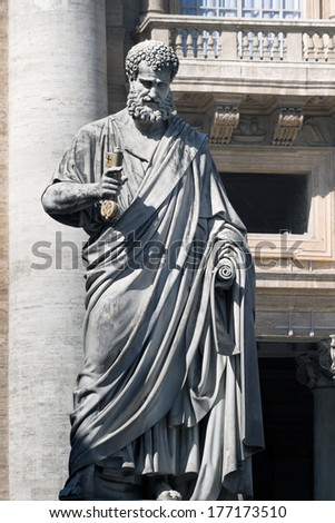Sculpture of Sacred Peter with a key before St. Peter's Cathedral, Vatican - stock photo