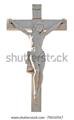 Sculpture of the crucifixion of Jesus isolated on a white background with clipping path - stock photo