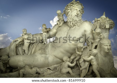 Sculpture of the god Zeus and his children, classic Greek art