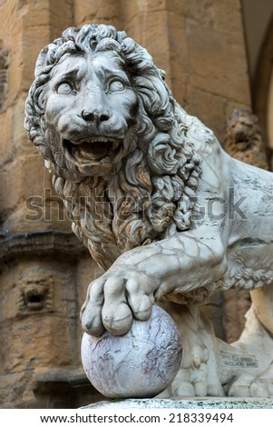 Sculpture of the Renaissance in Piazza della Signoria in Florence, Italy