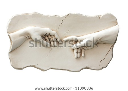 Sculpture of two hands - stock photo