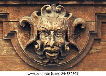 sculpture wooden baroque door