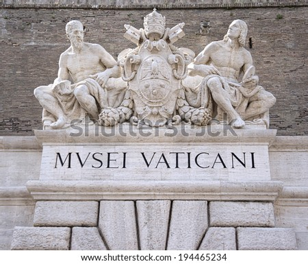 Sculptures above an entrance to the Vatican Museum in Rome, Ital - stock photo