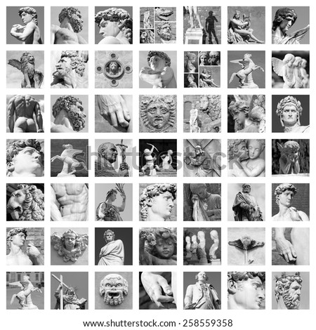 sculptures collage - stock photo