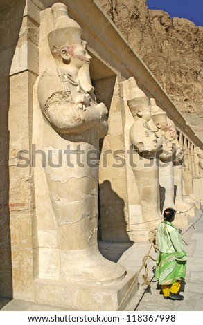 Sculptures from the temple Hatsepsut, Egypt, UNESCO World Heritage Site