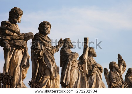 Sculptures of saints at Church of the Apostles St. Peter and Paul in Old Town of Krakow in Poland.