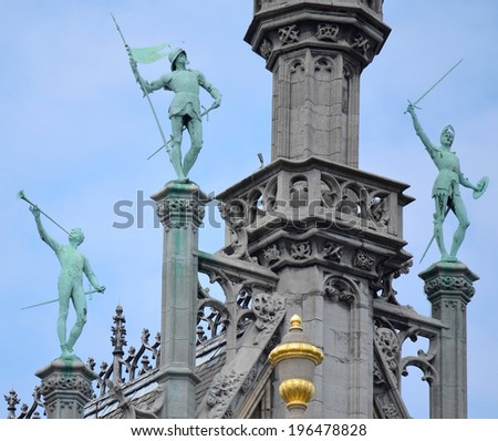 Sculptures on Buildings in Brussels - stock photo
