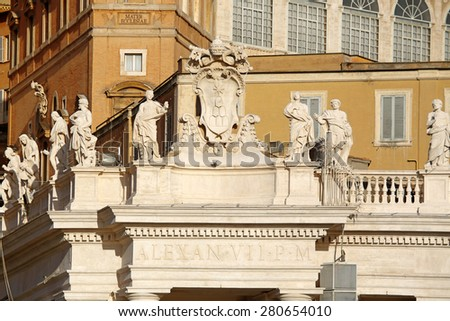 Sculptures on the top of Saint Peter Basilica, Vatican City, Rome, Italy