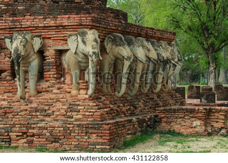 Sculptures,The sculptures in the ancient temple at Sukhothai Historical Park, Sukhothai Historical Park is the UNESCO world heritage. Thailand-28 may 2016.  - stock photo