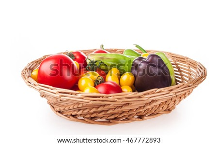 scuttle with vegetables on a white background