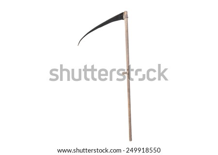 scythe for cutting grass isolated on white background - stock photo