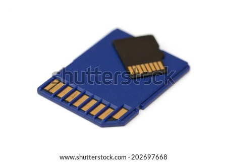 sd and micro-sd memory cards on white - stock photo